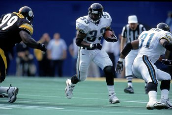 3 Oct 1999: James Stewart #33 of the Jacksonville Jaguars carries the ball during the game against the Pittsburgh Steelers at the Three Rivers Stadium in Pittsburgh, Pennsylvania. The Jaguars defeated the Steelers 17-3. Mandatory Credit: Jamie Squire  /Al