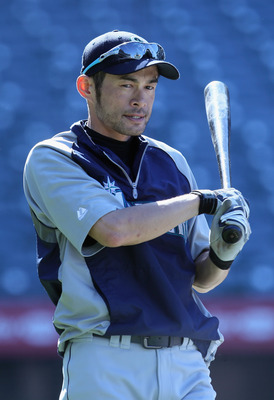 ANAHEIM, CA - JULY 09:  Ichiro Suzuki #51 of the Seattle Mariners warms up during batting practice prior to the start of the game against the Los Angeles Angels of Anaheim at Angel Stadium of Anaheim on July 9, 2011 in Anaheim, California.  (Photo by Jeff