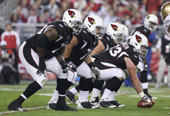 GLENDALE, AZ - NOVEMBER 29:   The Arizona Cardinals offensive line, centerd by Lyle Sendlein #63 line up during the NFL game against the San Francisco 49ers at the University of Phoenix Stadium on November 29, 2010 in Glendale, Arizona.  The 49ers defeate