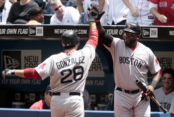 TORONTO, CANADA - JUNE 12:  Adrian Gonzalez #28 and David Ortiz #34 of the Boston Red Sox celebrate a home run during MLB action against the Toronto Blue Jays at The Rogers Centre June 12, 2011 in Toronto, Ontario, Canada. (Photo by Abelimages/Getty Image