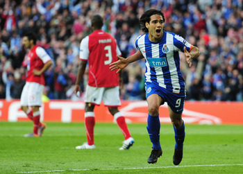 DUBLIN, IRELAND - MAY 18:  Radamel Falcao Garcia of FC Porto celebrates scoring the opening goal during the UEFA Europa League Final between FC Porto and SC Braga at Dublin Arena on May 18, 2011 in Dublin, Ireland.  (Photo by Jamie McDonald/Getty Images)
