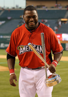 ANAHEIM, CA - JULY 12:  American League All-Star David Ortiz #34 of the Boston Red Sox winner of the 2010 State Farm Home Run Derby during All-Star Weekend at Angel Stadium of Anaheim on July 12, 2010 in Anaheim, California.  (Photo by Stephen Dunn/Getty