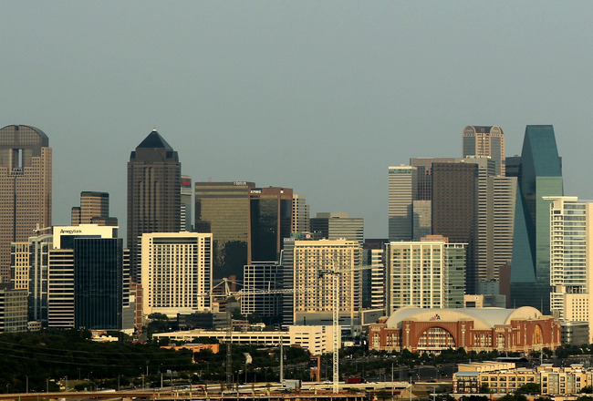 DALLAS, TX - JUNE 07:  A general view of the skyline of downtown Dallas, Texas as the American Airlines Center can be seen before Game Four of the 2011 NBA Finals on June 7, 2011 in Dallas, Texas. NOTE TO USER: User expressly acknowledges and agrees that,