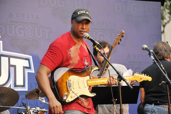 NEW YORK, NY - MAY 21:  Former New York Yankee outfielder Bernie Williams performs during Delta Air Lines Hosts the 'Delta Dugout' at Madison Square Park - Day 2 at Madison Square Park on May 21, 2011 in New York City.  (Photo by Theo Wargo/Getty Images f