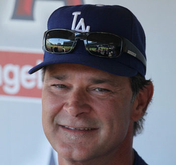 ANAHEIM, CA - JULY 02:  Los Angeles Dodgers manager Don Mattingly looks on prior to the start of the game against the Los Angeles Angels of Anaheim at Angel Stadium of Anaheim on July 2, 2011 in Anaheim, California.  (Photo by Jeff Gross/Getty Images)