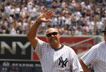 NEW YORK, NY - JUNE 26:  Reggie Jackson is introduced during The New York Yankees 65th Old Timers Day game on June 26, 2011 at Yankee Stadium in the Bronx borough of New York City.  (Photo by Al Bello/Getty Images)