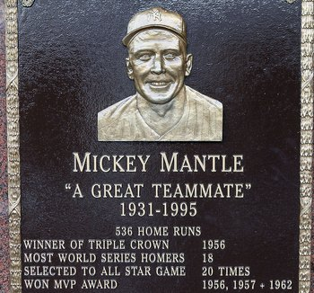 NEW YORK - MAY 02:  The plaque of Mickey Mantle is seen in Monument Park at Yankee Stadium prior to the game between the New York Yankees and the Chicago White Sox on May 2, 2010 in the Bronx borough of New York City. The Yankees defeated the White Sox 12