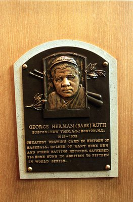 24 Jul 2000:  A general view of the plaque dedicated to George Herman 'The Babe' Ruth at the Baseball Hall of Fame in Cooperstown, New York.Mandatory Credit: Ezra O. Shaw  /Allsport