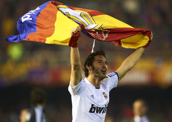 VALENCIA, BARCELONA - APRIL 20:  Esteban Granero of Real Madrid celebrates after the Copa del Rey final match between Real Madrid and Barcelona at Estadio Mestalla on April 20, 2011 in Valencia, Spain.  (Photo by Manuel Queimadelos Alonso/Getty Images)