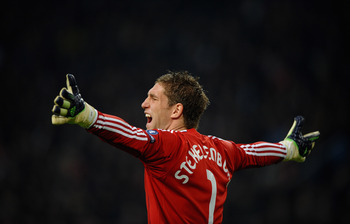 AMSTERDAM, NETHERLANDS - NOVEMBER 23: Maarten Stekelenburg of Ajax show his frustrations during the UEFA Champions League Group G match between AFC Ajax and Real Madrid at the Ajax Arena on November 23, 2010 in Amsterdam, Netherlands.  (Photo by Laurence
