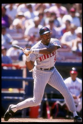 Designated hitter Dave Winfield of the Minnesota Twins at bat during a game against the California Angels at Anaheim Stadium in Anaheim, California.