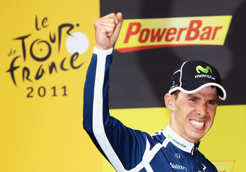 SUPER-BESSE SANCY, FRANCE - JULY 09:  Rui Costa of Portugal and Movistar celebrates winning stage eight of the 2011 Tour de France from Aigurande to Super-Besse Sancy on July 9, 2011 in Super-Besse Sancy, France.  (Photo by Bryn Lennon/Getty Images)