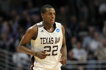 CHICAGO, IL - MARCH 18:  Khris Middleton #22 of the Texas A&M Aggies smiles after making a three-pointer at the buzzer in the first half of the game against the Florida State Seminoles during the second round of the 2011 NCAA men's basketball tournament a