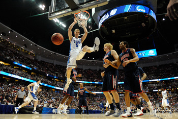 ANAHEIM, CA - MARCH 24:  Mason Plumlee #5 of the Duke Blue Devils dunks the ball against Arizona Wildcats during the west regional semifinal of the 2011 NCAA men's basketball tournament at the Honda Center on March 24, 2011 in Anaheim, California.  (Photo
