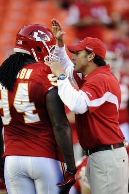 KANSAS CITY, MO - AUGUST 27: Head coach Todd Haley of the Kansas City Chiefs with Tyson Jackson #94 prior to a preseason game against the Philadelphia Eagles at Arrowhead Stadium on August 27, 2010 in Kansas City, Missouri.  (Photo by G. Newman Lowrance/G