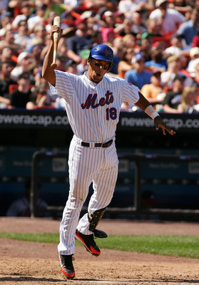NEW YORK - APRIL 22:  Moises Alou #18 of the New York Mets is upset after getting out against the Atlanta Braves during their game at Shea Stadium April 22, 2007 in the Flushing neighborhood of the Queens borough of New York.  (Photo by Al Bello/Getty Ima