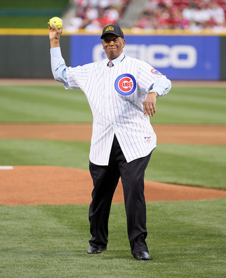 CINCINNATI - MAY 15:  Ernie Banks throws out the first pitch before the Gillette Civil Rights Game between the Cincinnati Reds and the St. Louis Cardinals at Great American Ball Park on May 15, 2010 in Cincinnati, Ohio.  (Photo by Andy Lyons/Getty Images)