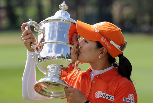 COLORADO SPRINGS, CO - JULY 11:  So Yeon Ryu of South Korea poses with the trophy after a playoff win against Hee Kyung Seo of South Korea in the final round to win the 2011 U.S. Women's Open at The Broadmoor on July 11, 2011 in Colorado Springs, Colorado