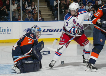 UNIONDALE, NY - MARCH 06:  Goaltender Wade Dubielewicz #34 of the New York Islandersmakes the stop on Chris Drury #23 of the New York Rangers on March 6, 2008 at the Nassau Coliseum in Uniondale, New York. The Rangers defeated the Islanders 4-1. (Photo by