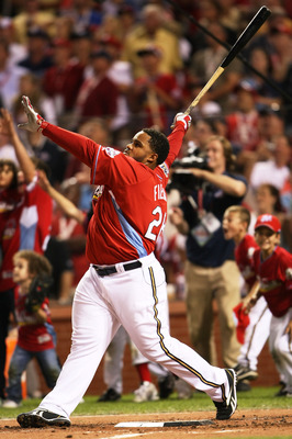 ST LOUIS, MO - JULY 13:  National League All-Star Prince Fielder of the Milwaukee Brewers competes in the third round on his way to winning the State Farm Home Run Derby at Busch Stadium on July 13, 2009 in St. Louis, Missouri.  (Photo by Elsa/Getty Image