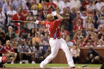 ST. LOUIS, MO - JULY 13: National League All-Star Albert Pujols of the St. Louis Cardinals competes in the State Farm Home Run Derby at Busch Stadium on July 13, 2009 in St. Louis, Missouri. (Photo by Jamie Squire/Getty Images)