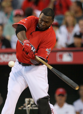 ANAHEIM, CA - JULY 12:  American League All-Star David Ortiz #34 of the Boston Red Sox swings the bat during the final round of the 2010 State Farm Home Run Derby during All-Star Weekend at Angel Stadium of Anaheim on July 12, 2010 in Anaheim, California.