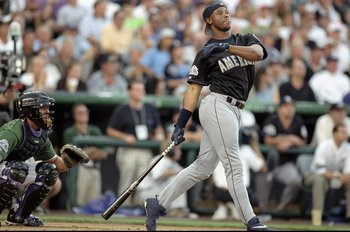 6 Jul 1998:  American League member Ken Griffey Jr. #24 of the Seattle Mariners watches after hitting the ball during the All-Star Home Run Derby at Coors Field in Denver, Colorado. Mandatory Credit: Brian Bahr  /Allsport