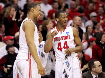CLEVELAND, OH - MARCH 18: Jared Sullinger #0 and William Buford #44 of the Ohio State Buckeyes smile on the bench late in the game against the Texas-San Antonio Roadrunners during the second round of the 2011 NCAA men's basketball tournament at Quicken Lo