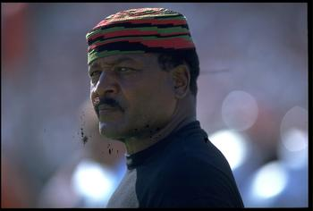 19 SEP 1993:  A CANDID PORTRAIT OF FORMER CLEVELAND BROWNS RECORD SETTING RUNNING BACK JIM BROWN DURING THE BROWNS 19-16 WIN OVER THE LOS ANGELES RAIDERS.  MANDATORY CREDIT:  MARKUS BOESCH/ALLSPORT