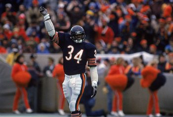 Walter Payton #34 of the Chicago Bears celebrates on the field as the Bears win the NFC Championship.