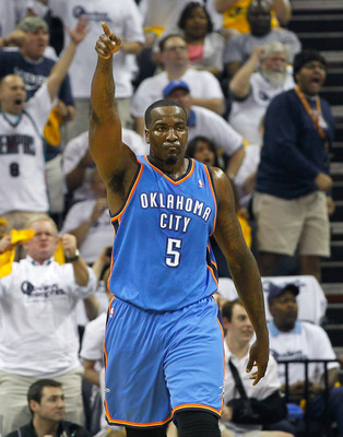 MEMPHIS, TN - MAY 13:  Kendrick Perkins #5 of the Oklahoma City Thunder against the Memphis Grizzlies in Game Six of the Western Conference Semifinals in the 2011 NBA Playoffs at FedExForum on May 13, 2011 in Memphis, Tennessee.  NOTE TO USER: User expres