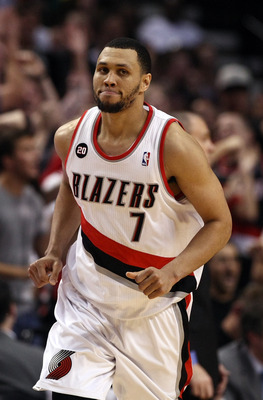 PORTLAND, OR - APRIL 23:  Brandon Roy #7 of the Portland Trail Blazers runs down court after making a shot to overcome a 23 point deficit to defeat the Dallas Mavericks 84-82 in Game Four of the Western Conference Quarterfinals in the 2011 NBA Playoffs on