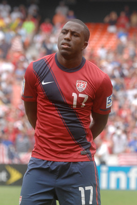 WASHINGTON, DC - JUNE 19:   Jozy Alitidore #17 of the United States looks on before match against Jamaica during the 2011 Gold Cup Quarterfinals on June 19, 2011 at RFK Stadium in Washington, D.C.  The United States won 2-0.  (Photo by Mitchell Layton/Get