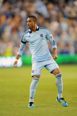 KANSAS CITY, KS - JUNE 17:  Teal Bunbury #9 of Sporting Kansas City defends against the San Jose Earthquakes on June 17, 2011 at LiveStrong Sporting Park in Kansas City, Kansas. Sporting Kansas City won 1-0. (Photo by G. Newman Lowrance/Getty Images)