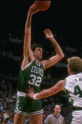MILWAUKEE - 1988-1989:  Forward Kevin McHale of the Boston Celtics shoots the ball during the 1988-1989 NBA game against the Milwaukee Bucks at the Bradley Center in Milwaukee, Wisconsin. NOTE TO USER: User expressly acknowledges and agrees that, by downl
