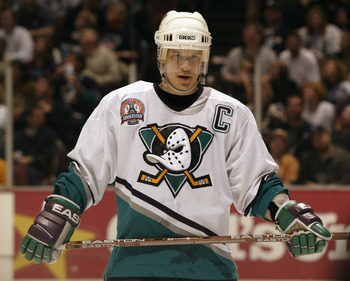 ANAHEIM, CA - JUNE 7:  Paul Kariya #9 of the Anaheim Mighty Ducks looks on during Game Six of the 2003 Stanley Cup Finals against the New Jersey Devils at the Arrowhead Pond of Anaheim on June 7, 2003 in Anaheim, California. The Ducks won 5-2. (Photo by: