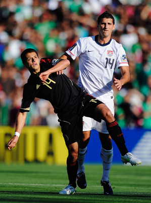 PASADENA, CA - JUNE 25:  Javier Hernandez #14 of Mexico controls the ball agaunst Eric Lichaj #14 of United States during the 2011 CONCACAF Gold Cup Championship at the Rose Bowl on June 25, 2011 in Pasadena, California.  (Photo by Kevork Djansezian/Getty