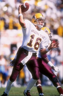 12 Oct 1996:  Quarterback Jake Plummer of Arizona State sets to throw a pass during the Sun Devils 42-34 win over UCLA at the Rose Bowl in Pasadena, California. Mandatory Credit: Todd Warshaw  /Allsport