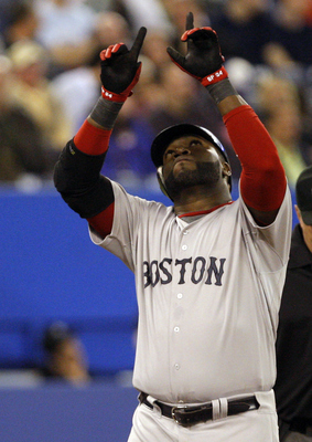TORONTO, CANADA - MAY 10: David Ortiz #34 of the Boston Red Sox celebrates home run during MLB action against the Toronto Blue Jays at the Rogers Centre May 10, 2011 in Toronto, Ontario, Canada. (Photo by Abelimages/Getty Images)