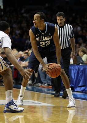ROSEMONT, IL - FEBRUARY 19: Dominic Cheek #23 of the Villanova Wildcats looks to pass against the DePaul Blue Demons at the Allstate Arena on February 19, 2011 in Rosemont, Illinois. Villanova defeated DePaul 77-75 in overtime. (Photo by Jonathan Daniel/G