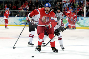VANCOUVER, BC - FEBRUARY 23:  Jaromir Jagr #68 of Czech Republic skates with the puck during the ice hockey Men's Play-off qualification match between the Czech Republic and Latvia on day 12 of the Vancouver 2010 Winter Olympics at UBC Thunderbird Arena o