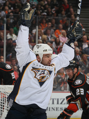 ANAHEIM, CA - APRIL 13:  Steve Sullivan #26 of the Nashville Predators celebrates his goal against the Anaheim Ducks in the second period of Game One of the Western Conference Quarterfinals during the 2011 NHL Stanley Cup Playoffs at Honda Center on April