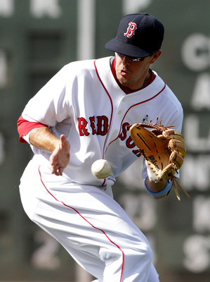 BOSTON, MA  - JUNE 19:  Drew Sutton #44 of the Boston Red Sox field a ground ball against of the Milwaukee Brewers at Fenway Park on June 19, 2011 in Boston, Massachusetts.  (Photo by Jim Rogash/Getty Images)