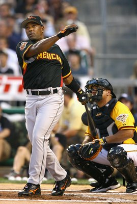 PITTSBURGH - JULY 10:  Amercian League All-Star Miguel Tejada of the Baltimore Orioles bats during the CENTURY 21 Home Run Derby at PNC Park on July 10, 2006 in Pittsburgh, Pennsylvania.  (Photo by Al Bello/Getty Images)