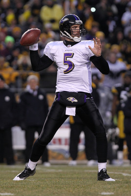 PITTSBURGH, PA - JANUARY 15:  Quarterback Joe Flacco #5 of the Baltimore Ravens drops back to pass against the Pittsburgh Steelers in the AFC Divisional Playoff Game at Heinz Field on January 15, 2011 in Pittsburgh, Pennsylvania.  (Photo by Nick Laham/Get