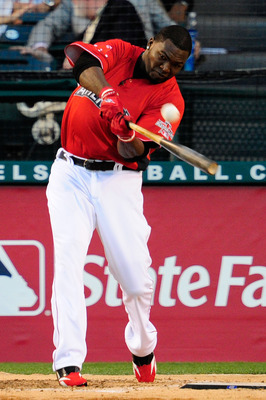 ANAHEIM, CA - JULY 12:  American League All-Star David Ortiz #34 of the Boston Red Sox at bat during the fianl round of the 2010 State Farm Home Run Derby during All-Star Weekend at Angel Stadium of Anaheim on July 12, 2010 in Anaheim, California.  (Photo