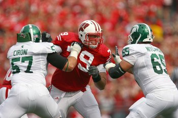 MADISON, WI - SEPTEMBER 26: Jeff Stehle #79 of the Wisconsin Badgers moves off the line against the Michigan State Spartans on September 26, 2009 at Camp Randall Stadium in Madison, Wisconsin. (Photo by Jonathan Daniel/Getty Images)