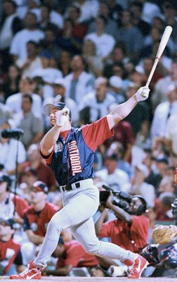 BOSTON - JULY 12:  Mark McGwire of the National League bats during the 1999 MLB Homerun Derby on July 12, 1999 at Fenway Park in Boston, Massachusetts.  (Photo by: Brian Bahr/Getty Images)
