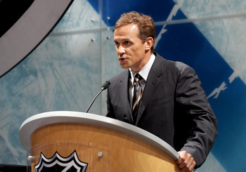 COLUMBUS, OH - JUNE 22:  Steve Yzerman of the Detroit Red Wings speaks during the first round of the 2007 NHL Entry Draft at Nationwide Arena on June 22, 2007 in Columbus, Ohio.  (Photo by Bruce Bennett/Getty Images)