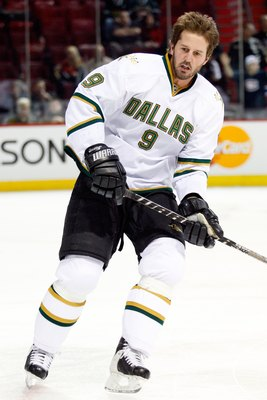 MONTREAL- JANUARY 14:  Mike Modano #9 of the Dallas Stars skates skates during the warm up period prior to facing the Montreal Canadiens in their NHL game on January 14, 2010 at the Bell Centre in Montreal, Quebec, Canada.  The Canadiens defeated the Star